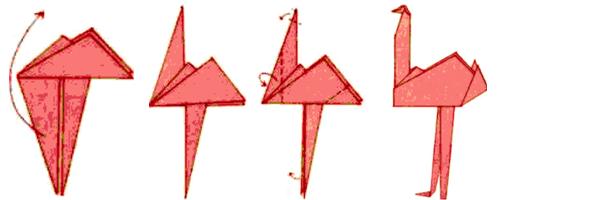 1. Iniciar pelo passo da ave (Tsuru), Inicio do passo básico do tsuro. 2. Girar conforme a figura e dobrar 3. Dobrar 4. Dobrar para baixo 5. Dobrar o outro lado
