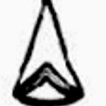 Vire o cone formado de cabeça para baixo e vire a aba da extremidade inferior para cima. Apoie-o pela base.
