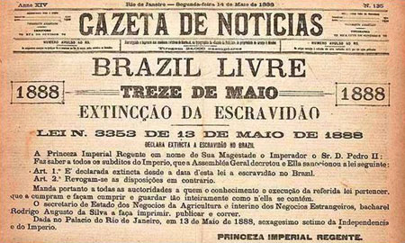 Imagem de um dos jornais mais importantes à época que foi as ruas do Rio de Janeiro um dia após a abolição da escravidão no Brasil