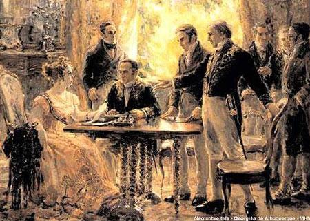 Representação da princesa Isabel prestes a assinar a Lei Áurea que revogava a abolição no país.