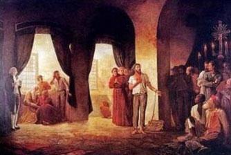 Imagem representando a leitura da sentença de Tiradentes. Mais uma vez ele é associado a uma imagem sagrada, ressaltando a injustiça da pena.
