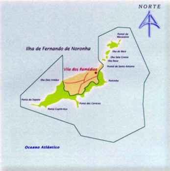 Mapa do Parque Nacional Marinho de Fernando de Noronha