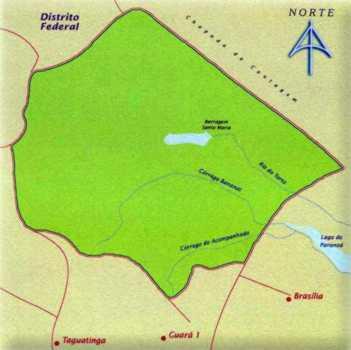 Mapa do Parque Nacional de Brasília