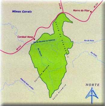Mapa do Parque Nacional da Serra do Cipó