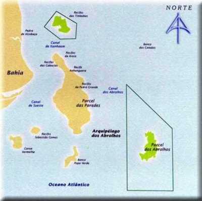 Mapa do Parque Nacional Marinho dos Abrolhos