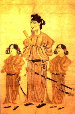O Príncipe Shotoku e dois de seu filhos: penteados, túnicas e acessórios de forte inspiração chinesa na corte imperial japonesa.