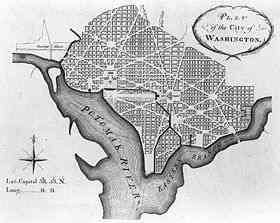 Plano de Pierre Charles L'Enfant para a nova cidade.