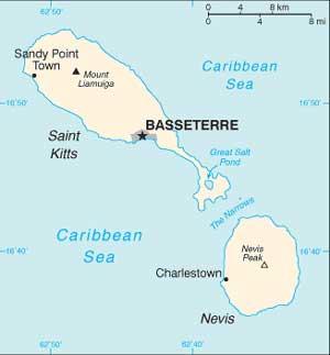 Mapa de São Cristovão e Nevis
