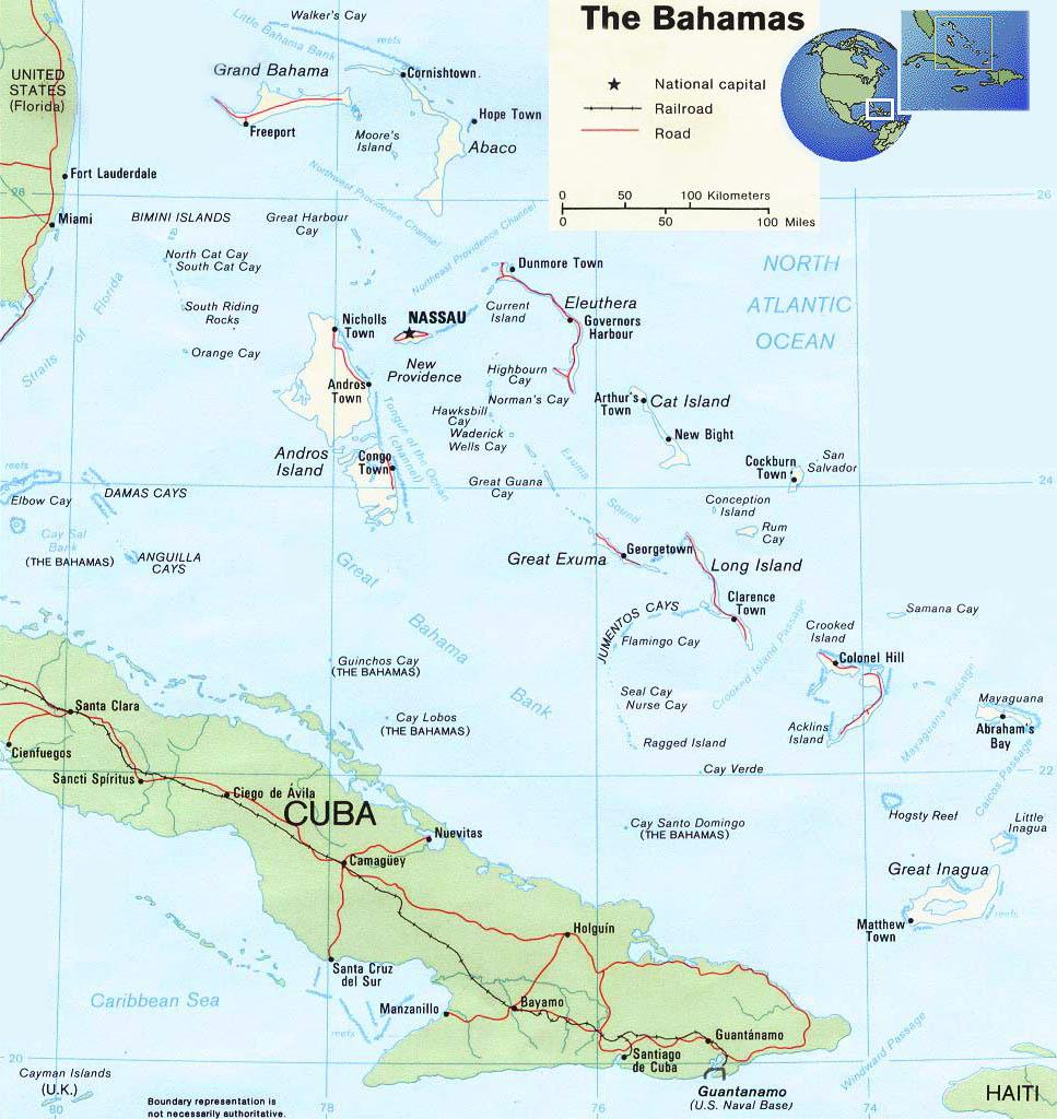 Mapa das Bahamas