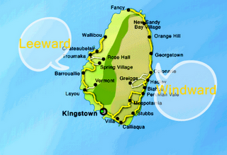 Mapa de São Vicente e Granadinas