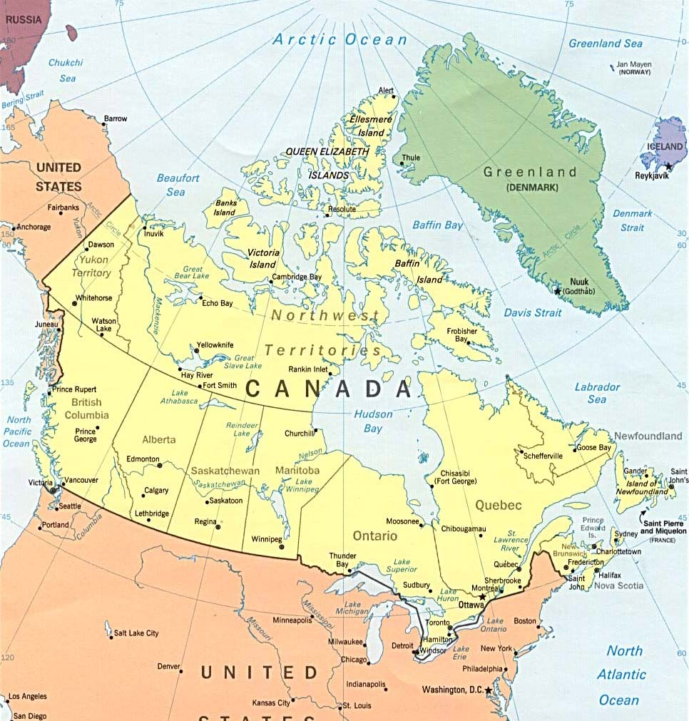 Mapa do Canadá