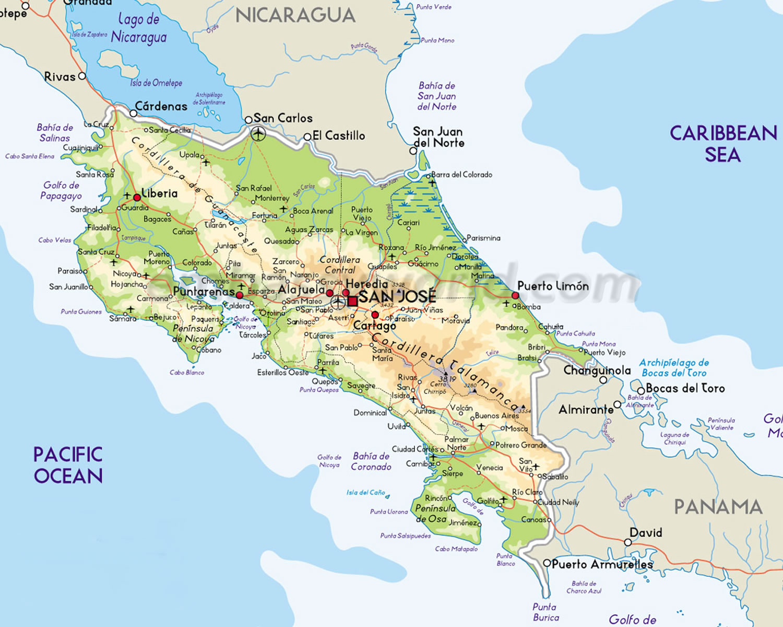 Mapa da Costa Rica