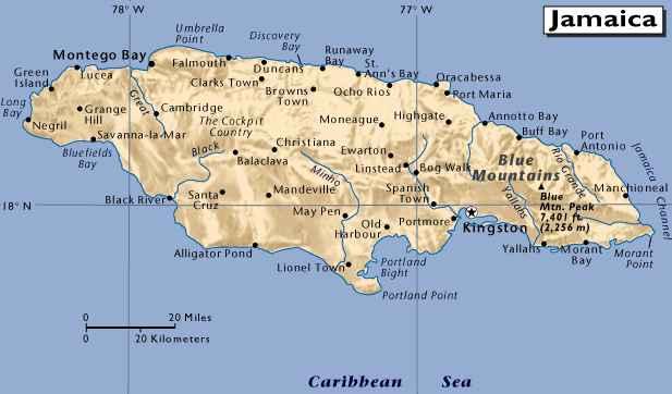 Mapa da Jamaica