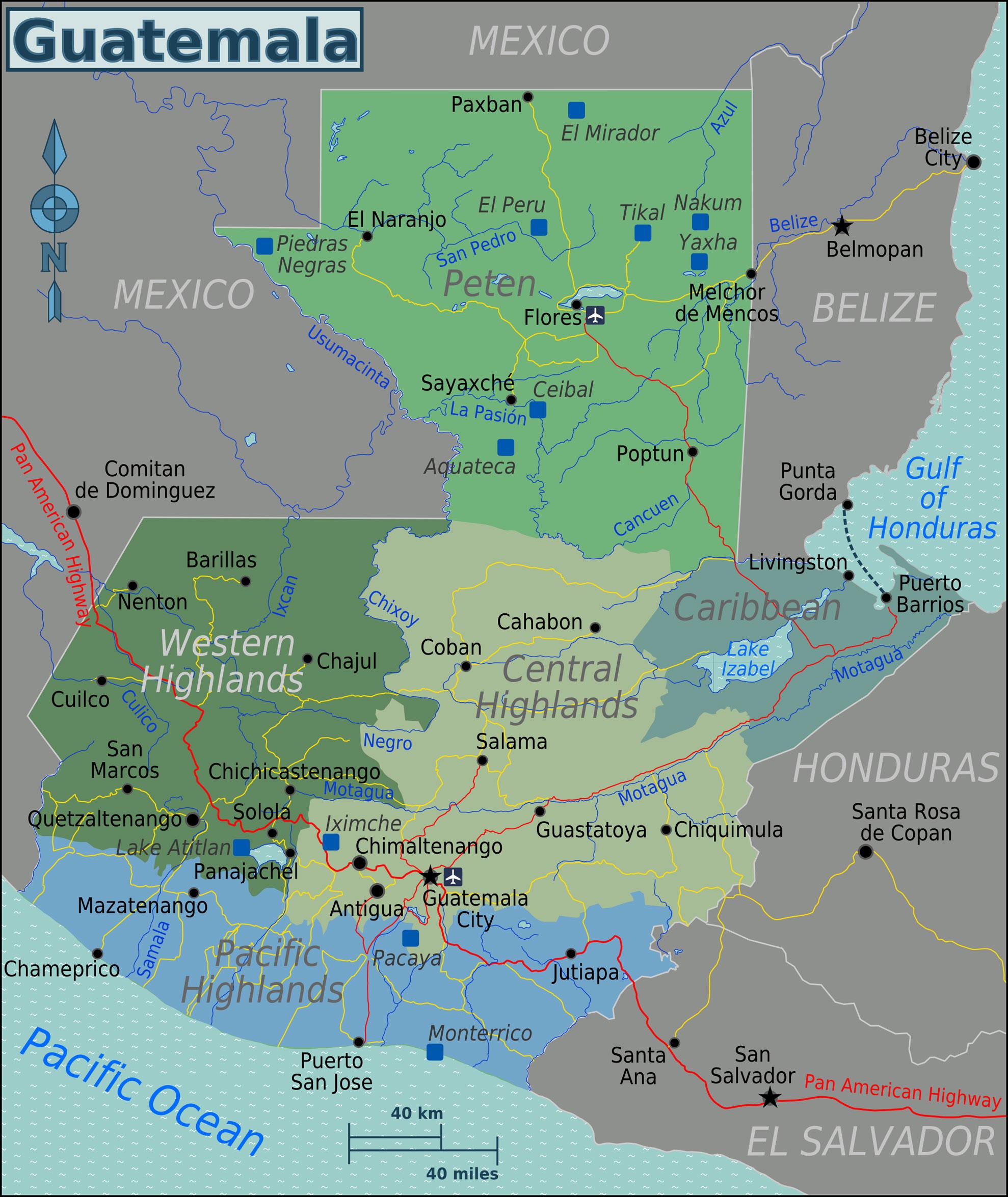 Mapa da Guatemala