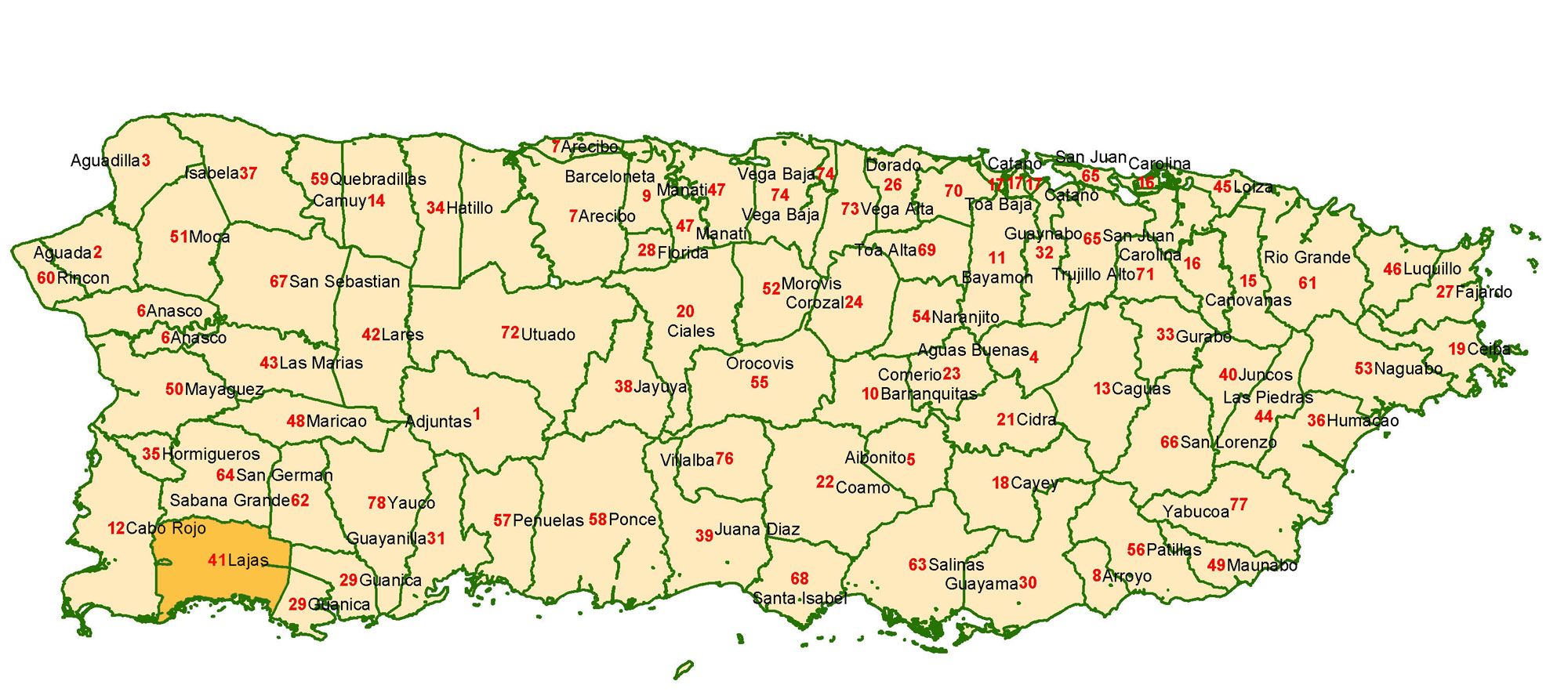 Mapa de Porto Rico