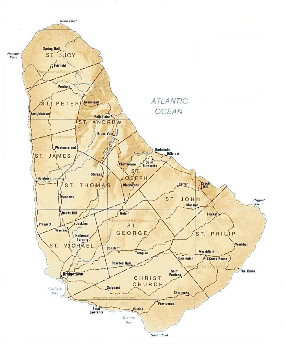 Mapa de Barbados