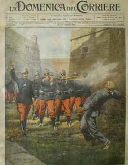 Execução de de Francisco Ferrer i Guardia na prisão de Montjuich.