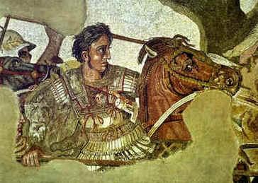 Alexandre, o Grande. Este mosaico, encontrado em Pompéia, foi feito em 310 a.C.