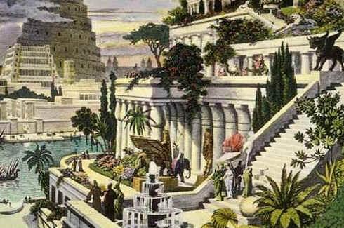 Jardins Suspensos da Babilônia. Uma interpretação dos jardins pelo artista holandês do século 16 Martin Heemskerck