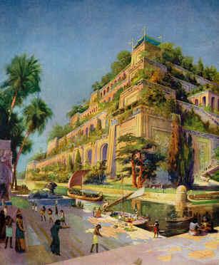 Ilustração dos jardins suspensos da Babilônia