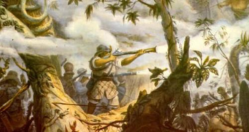 Combate contra Botocudos - Obra de Jean Baptiste Debret, de 1827. Guerra dos bandeirantes contra tribos de Piratininga