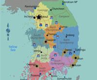 Mapa da Coréia do Sul