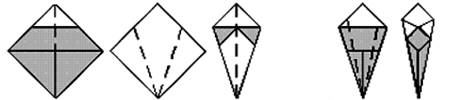 A cauda: dobre da direita para a esquerda, como uma pipa. Dobre da esquerda para a direita, repita na esquerda. Dobre os lados da frente e de trás.