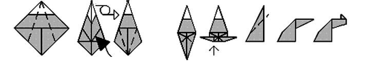 O corpo: dobre os lados de ambas as camadas. A cauda se encaixa aqui. Dobre as pernas para fora, depois para dentro (na marca). Pernas: Faça dobras invertidas (para dentro)