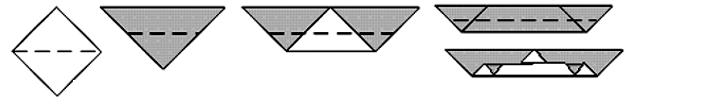As asas: vá dobrando sempre na metade, como na figura. Desdobre esta parte.