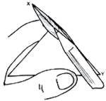 Afastar as superfícies do papel como mostra o lápis e aproximar os pontos X e Y para fazer o vinco da figura 2.