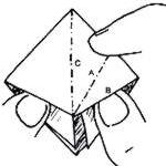 Levantar a ponta do quadrado como na figura ao lado.