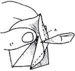 Forçar a borda do papel (B na figura acima) para dentro, pressionando no ponto indicado pelo lápis