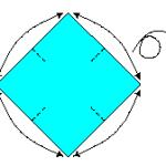 Prepare uma folha quadrada, marque-a no ponto médio entre as pontas nos quatro lados, depois vire-a para o lado de trás.