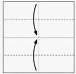 Dobre nas linhas pontilhadas em direção ao centro.