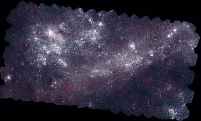 Vista Ultravioleta da Grande Nuvem de Magalhães do Telescópio Ultravioleta / Óptico de Swift