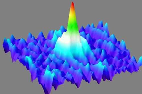omo uma onda gigante no meio de um mar de átomos de cálcio gasosos, o Bose-Einstein